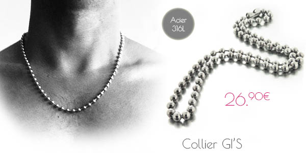 collier homme boules