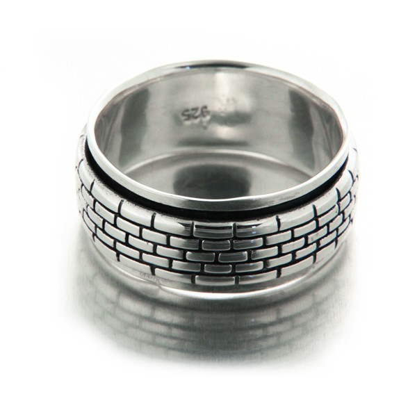 "Bague homme argent anneau antistress ""The Wall"""