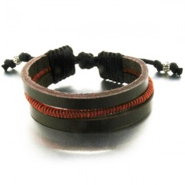 Bracelet Mâa triple en cuir marron et corde tressée orange
