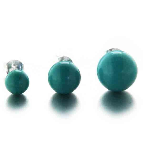 boucles d 39 oreilles puces cura ao en argent et boule turquoise mylittlefantaisie. Black Bedroom Furniture Sets. Home Design Ideas