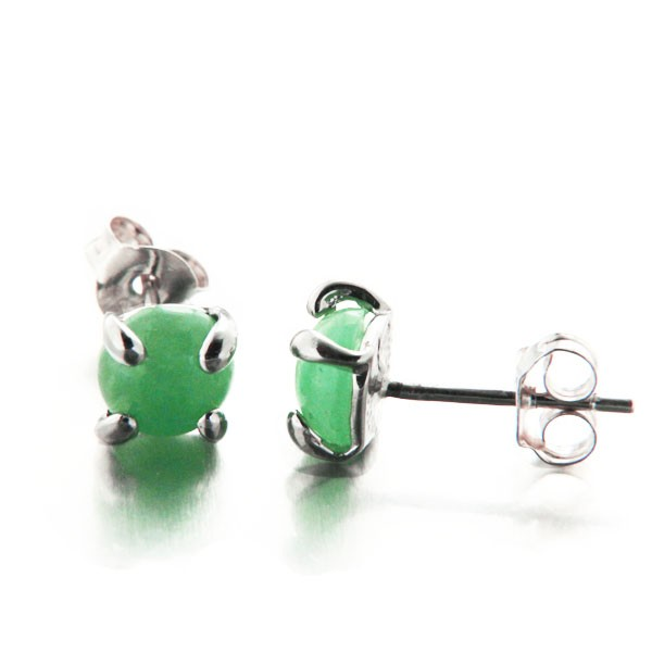 boucles d 39 oreilles puces rondes en jade vert et quatre griffes argent mylittlefantaisie. Black Bedroom Furniture Sets. Home Design Ideas