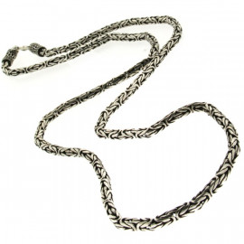 Collier argent tribal maille Snake 55-60cm