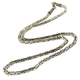 Collier argent tribal maille Snake 50cm