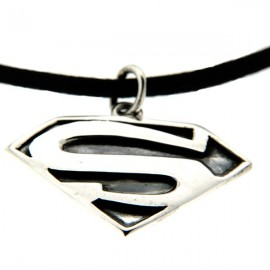 "Collier homme ""superman"" argent"