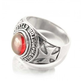 Bague homme Chevalière argent pierre rouge Harley Motorcycle