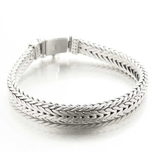 Bracelet gourmette homme maille serpent rectangle en argent massif