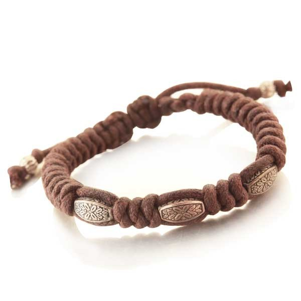 Bracelet force tribal en corde marron et rhodium
