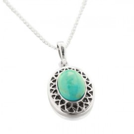 Collier Sharawa argent et Turquoise