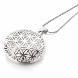 "Collier long argent médaillon Mandala ""porte photo"""