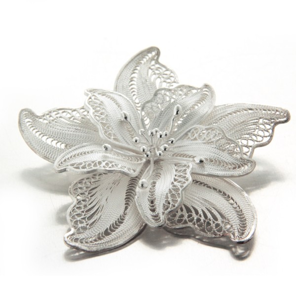 Broche May-Flower en filigrane d'argent